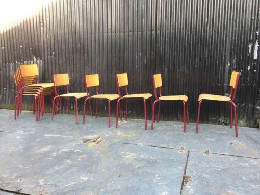 vintage retro schoolstoelen CHAISE Ecole BORDEAUX lot brocante_GoodStuffFactory