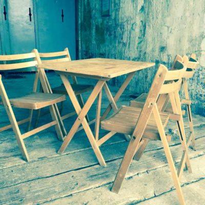 picknick vintage salvage industrieel klapstoel klaptafel hout GoodStuffFactory