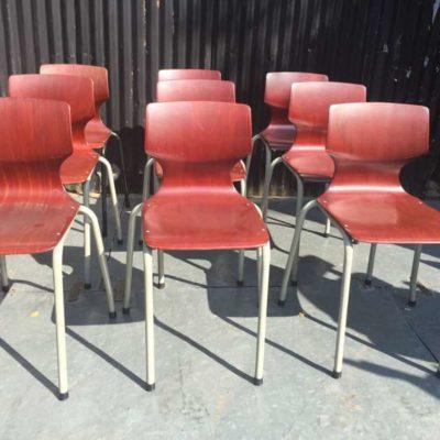 pagholz bruin brown brune chair stool chaise stoel school kuipstoel vintage GoodStuffFactory