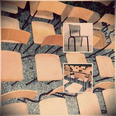 kantinestoelen bruinchairs stoelen stapelstoelen chaises empilable vintage retro horeca GoodStuffFactory