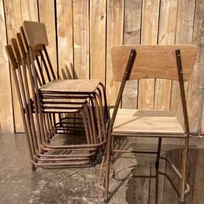teak outdoor exterieur stapelstoel industrial antiques retro vintage ostalige stolar canteens_thegoodstufffactory_be